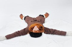 Winter fun - snow angel Royalty Free Stock Image