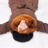 Winter fun - snow angel Royalty Free Stock Photography