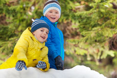 Winter fun with snow two smiling little boys Stock Image