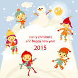 Winter Fun snowman kids vector 2015 retro Royalty Free Stock Photos