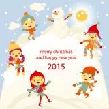 Winter Fun snowman kids vector 2015 retro. Happy Royalty Free Stock Photos