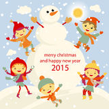 Winter Fun snowman kids vector 2015 retro. Happy Royalty Free Stock Images