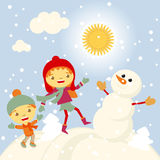 Winter Fun snowman kids vector 2015 retro. Happy vector illustration