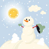 Winter Fun snowman kids vector 2015 retro. Happy Royalty Free Stock Photography