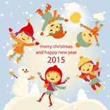 Winter Fun snowman kids vector 2015 retro. Happy stock illustration