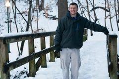 Winter Fun: A Walk in the Snow Stock Photo