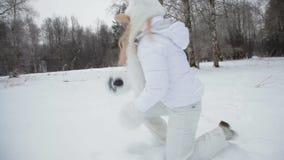 Winter fun with white snow. stock footage