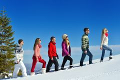 Winter fun with young people group Stock Photography
