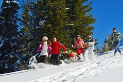 Winter fun with young people group Stock Image