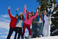 Winter fun with young people group Royalty Free Stock Photography