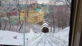 Winter funicular ride, Kiev, Ukraine stock footage