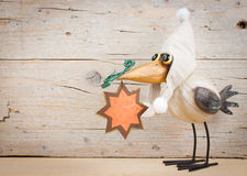Winter funny bird. Funny bird in warm hat with Christmas star. Empty space for text Royalty Free Stock Image