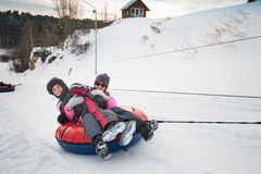 Winter funny games Stock Images