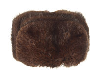 Winter fur hat brown isolated on white background. Royalty Free Stock Photography