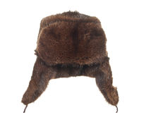 Winter fur hat brown isolated on white background. Stock Photo