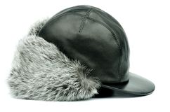 Winter Fur Hat with Ear Flaps Royalty Free Stock Image