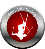 Winter game button freestyle skiing Royalty Free Stock Images