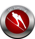 Winter game button ski jumping Stock Photos