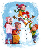 Winter Games. Children and snowman Stock Photos