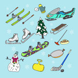 Winter games. Doodle set. Stock Images