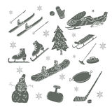 Winter games. Doodle set. Stock Photography