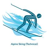 Winter games icon. Alpine Skiing icon. Olympic species of events in 2018. Winter sports games icons,  pictograms for web, print and other projects. Vector Stock Photos