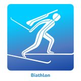 Winter games icon. Biathlon icon. Olympic species of events in 2018. Winter sports games icons,  pictograms for web, print and other projects. Vector Stock Image