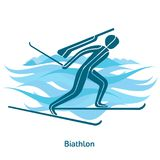 Winter games icon. Biathlon icon. Olympic species of events in 2018. Winter sports games icons,  pictograms for web, print and other projects. Vector Royalty Free Stock Photo