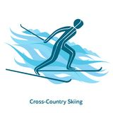 Winter games icon. Cross-country skiing icon. Olympic species of events in 2018. Winter sports games icons,  pictograms for web, print and other projects. Vector Stock Photography