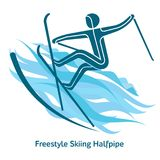 Winter games icon. Freestyle Skiing Halfpipe icon. Olympic species of events in 2018. Winter sports games icons,  pictograms for web, print and other projects Stock Photos