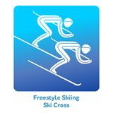 Winter games icon. Freestyle Skiing Ski Cross icon. Olympic species of events in 2018. Winter sports games icons,  pictograms for web, print and other projects Stock Photography