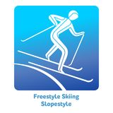 Winter games icon. Freestyle Skiing Slopestyle icon. Olympic species of events in 2018. Winter sports games icons,  pictograms for web, print and other projects Stock Photo