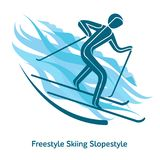 Winter games icon. Freestyle Skiing Slopestyle icon. Olympic species of events in 2018. Winter sports games icons,  pictograms for web, print and other projects Royalty Free Stock Photography