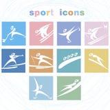 Winter games icon set. Stock Photo