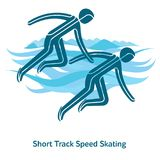 Winter games icon. Short Track Speed Skating icon. Olympic species of events in 2018. Winter sports games icons,  pictograms for web, print and other projects Stock Images