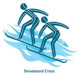 Winter games icon. Snowboard Cross icon. Olympic species of events in 2018. Winter sports games icons,  pictograms for web, print and other projects. Vector Stock Image