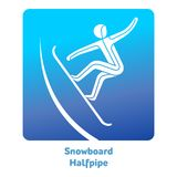 Winter games icon. Snowboard Halfpipe icon. Olympic species of events in 2018. Winter sports games icons,  pictograms for web, print and other projects. Vector Royalty Free Stock Image