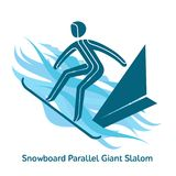 Winter games icon. Snowboard Parallel Giant Slalom icon. Olympic species of events in 2018. Winter sports games icons,  pictograms for web and other projects Royalty Free Stock Photos
