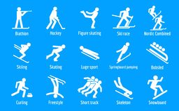 Winter games icons set, simple style royalty free illustration