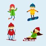 Winter games kids vector illustration. Stock Image