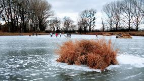 Winter games. On a lake in Bratislava,Slovakia Royalty Free Stock Photography