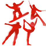 Winter Games Silhouettes in Red.  Stock Image