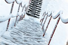 Winter gangway Stock Image