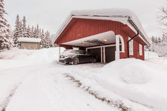 Winter garage Stock Images