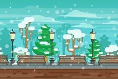 Winter Garden Landscape Poster Stock Photo