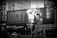 Winter Garden Theatre, New York. Rocky movie signboard on Winter Garden Theatre, New York Royalty Free Stock Photography