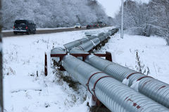 Winter gas pipeline Royalty Free Stock Photos