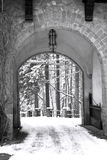 Winter gate. Gate to winter, near the Peles castle in Romania stock photography