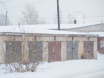Winter gate car garages made of brick Royalty Free Stock Photography