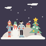 Winter Geek Hipster Happy Family Characters making Royalty Free Stock Photo